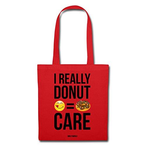 Spreadshirt Smiley World Wortspiel I Really Donut Care Stoffbeutel Rot wc5lk
