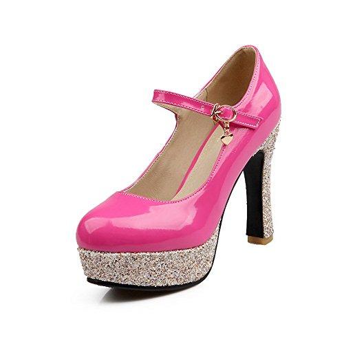 BalaMasa Femme Brillant Talons Matière Souple Pumps-Shoes Rouge Rose/Rouge, 41.5 EU, APL03614