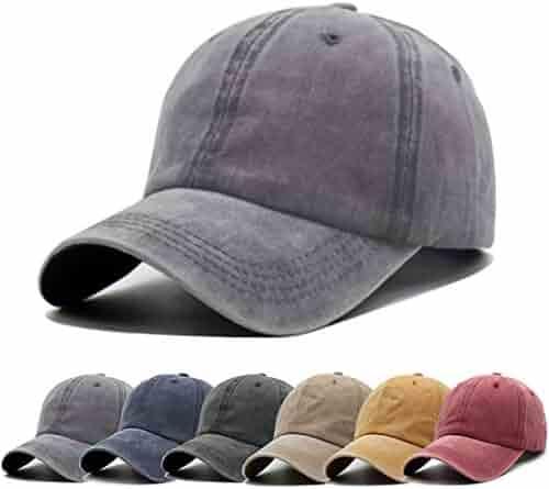 e2d7a107 Unisex Vintage Washed Distressed Baseball-Cap Twill Adjustable Dad-Hat