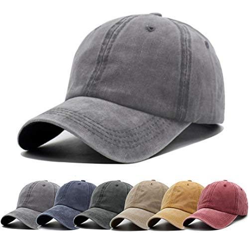 super popular 6f0d7 62ac1 Unisex Vintage Washed Distressed Baseball-Cap Twill Adjustable Dad-Hat  (A19-Grey