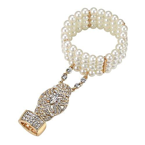 BABEYOND The Great Gatsby Inspired Bridal Flapper Flower Pattern Imitation Pearl Bracelet Ring Set (Gold)