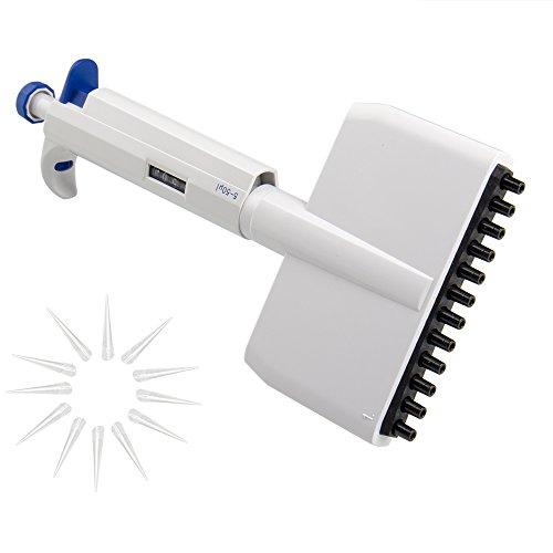 Four E's Scientific Autoclavable Adjustable Volume Multichannel Pipettor, 12-Channel, 5-50 Microliter