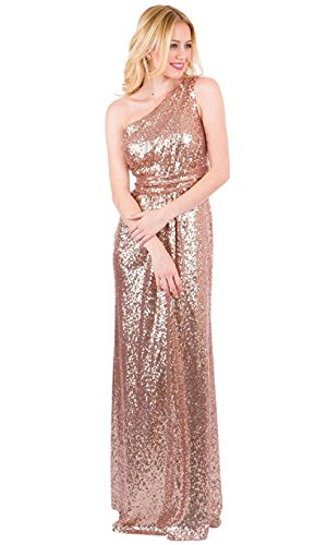 (EverLove Women's Sequined Long Bridesmaid Dresses Wedding Party Gown EL-0045 2 Rose Gold)