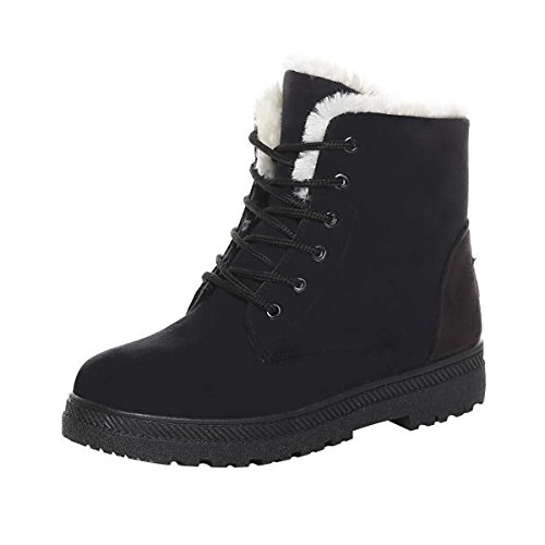 Dear Time Women Winter Snow Boots Fur Lined Warm Flat Platform Sneaker Shoes Plus US 8.5