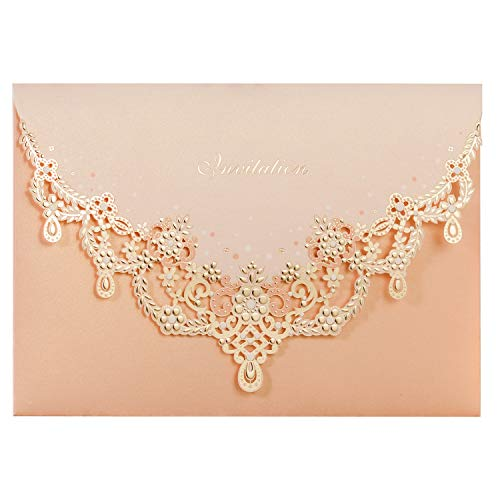 - WISHMADE Vintage Laser Cut Wedding Invitation Set with Peach Necklace Personalized Invitation Pocket Fold Design and Envelopes for Wedding Invite (1pcs)