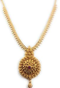 AFJ GOLD Yellow 1 Gram Micro Gold Plated Copper Traditional Designer Jewellery Stone Necklace for Women (LOT/HALL-03)