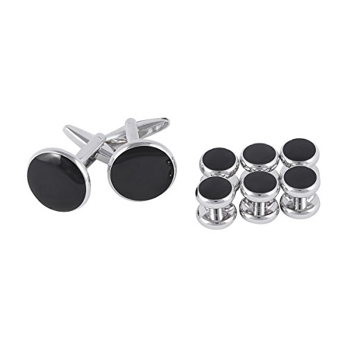 YiZYiF Men's Tuxedo Classic Cufflinks and Studs Set for Formal Party Wedding Business (8pcs Black) -