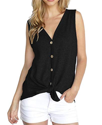 PCEAIIH Womens Loose Henley Blouse Sleeveless Button Down T Shirts Tie Front Knot Tops XS Black