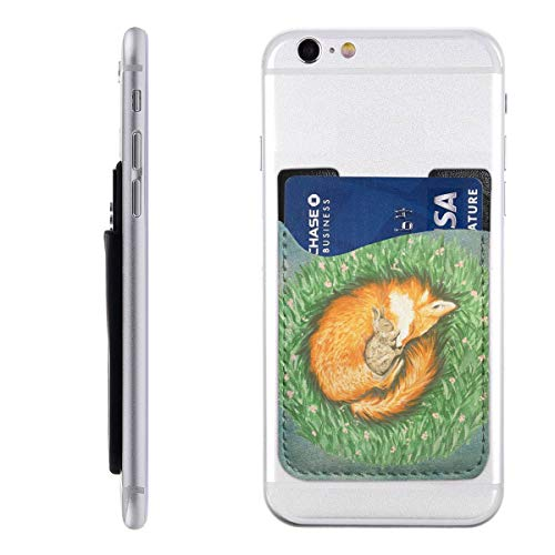 PU Leather Cell Phone Wallet/Pocket/Card Holder Shrinking Fox Rabbit On The Haystack Mobile Phone Card Package 3M Adhesive Ultra Slim Back Phone Pocket for iPhone, Android Most Smartphones