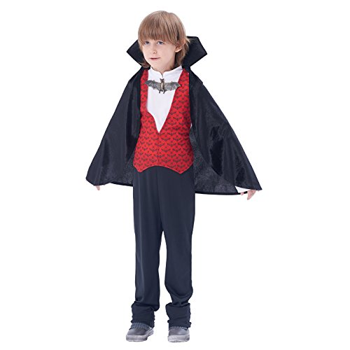 Dracula Picture Costume (Halloween Kids' Transylvanian Vampire Costume, 3Pcs (top, pants, cape with attached vest and collar)(6-8Y))