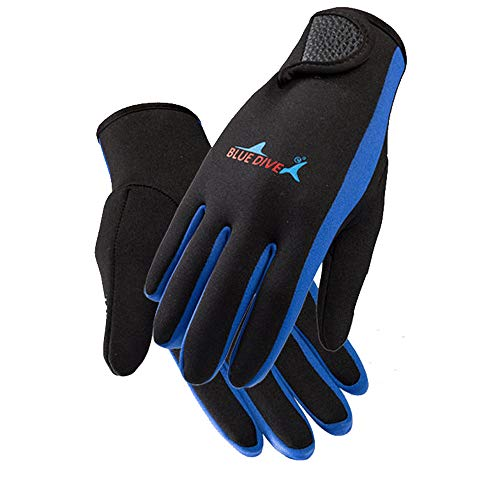 charmsamx Diving Gloves 1.5 Mm Premium Neoprene Men Women Five Finger Gloves with Gator Elastic Wrist Band for Diving Surfing Spearfishing Snorkeling and Other Water Sports (Blue, M)