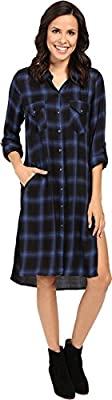[BLANKNYC] Blank NYC Women's Plaid Long shirtdress In Tomboy Blues