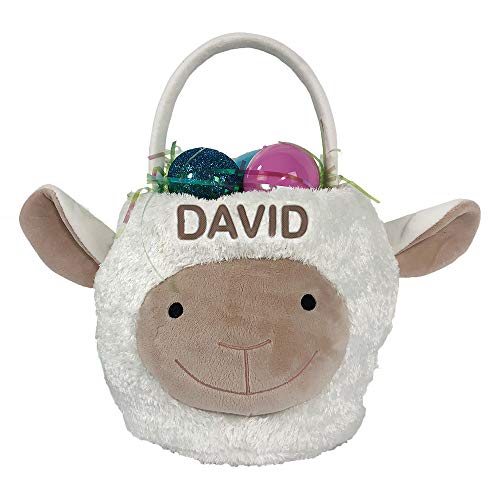 GiftsForYouNow Embroidered Lamb Personalized Easter Basket, 10