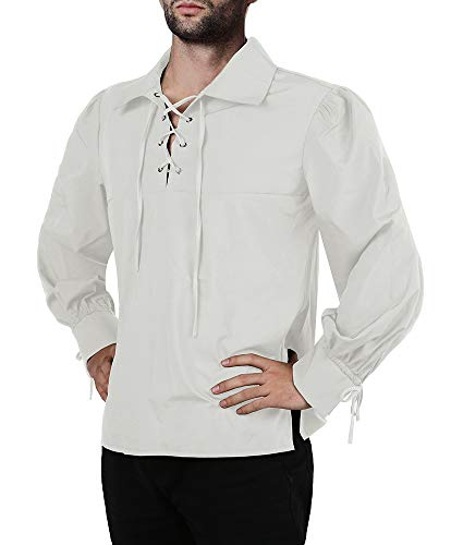 (Mens Medieval Pirate Shirt Viking Renaissance Lace up Halloween Mercenary Scottish Jacobite Ghillie Tops)