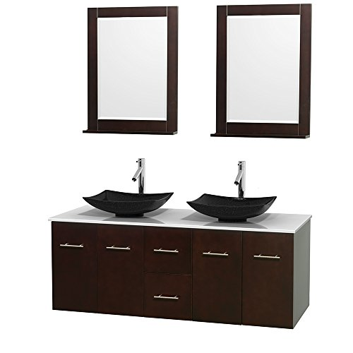Wyndham Collection Centra 60 inch Double Bathroom Vanity in Espresso, White Man-Made Stone Countertop, Arista Black Granite Sinks, and 24 inch Mirrors price