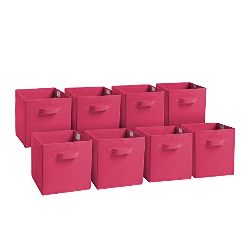 Royexe Set of 8 Foldable Fabric Storage Cube Bins | Collapsible Cloth Organizer Baskets Containers | Folding Nursery Closet Drawer | Features Dual Handles | More Beautiful Colors Available (Pink)