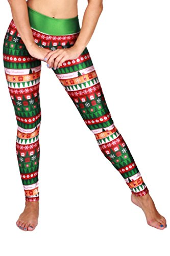 COCOLEGGINGS Ladies High Waisted Christmas Patterned Sweater Leggings Red Free Size