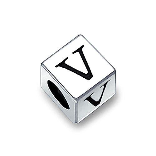 Square Cube Block Letter A-Z Alphabet Initial Charm Bead For Women For Teen 925 Sterling Silver For European Bracelet