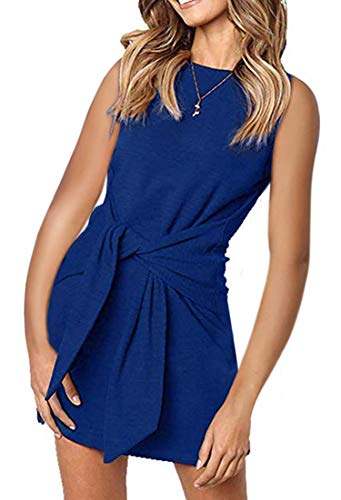 MIROL Women's Crewneck Sleeveless Tie Knot Front Bandage Solid Color Tunic Party Mini Dress Blue ()