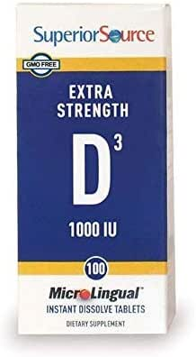 Superior Source Vitamin D3 [1000] IU Sublingual Tablets - Vitamin D Supplement Quick Dissolve Melts - 100 Count