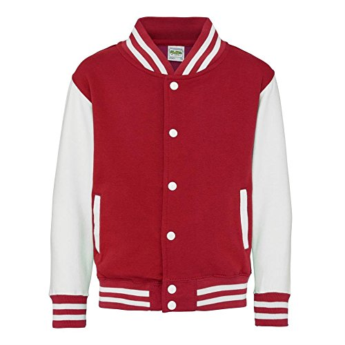 AWDis Hoods Big Boys' Varsity Letterman Jacket (Ages 3 - 4 (chest 26in), Fire Red / White)