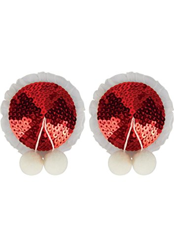 [Sexy Christmas 2017 Xmas Burlesque Sequin Pasties Tassels Red with Ball for Women Lingerie Set Premium Underwear Adult] (Sexy Sequin Kitty Costumes)