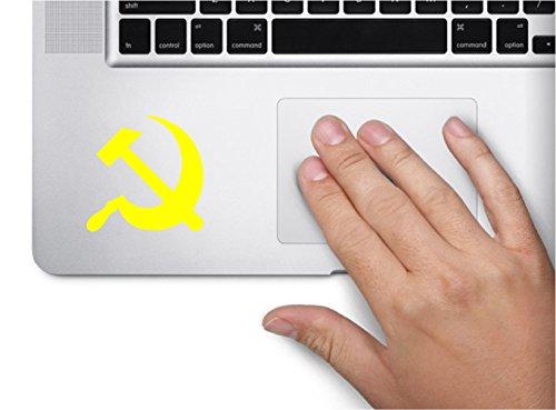 (USSR Soviet Sickle Hammer Russian Revolution Computer Laptop Symbol Decal Family Love Car Truck Sticker Window (Yellow))