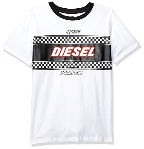 Diesel Boys' Big' Short Sleeve T-Shirt, Racer White, M Diesel Kids Boys Clothing
