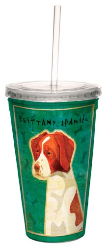 cc34014 Brittany Spaniel by John W. Golden Artful Traveler Double-Walled Cool Cup with Reusable Straw, 16-Ounce (Brittany Cup)