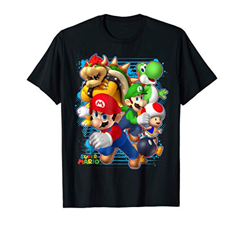 Nintendo Super Mario Luigi Bowser Spray Paint T-Shirt]()