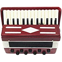 MonkeyJack DOLLHOUSE MINIATURE Wooden Accordion Musical Instrument Accessory 1/12 Scale