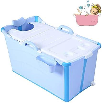 折りたたみバスタブ GYF 折りたたみ大人用浴槽 ポータブルプラスチック浴槽 座るカバー付き ホームアダルト 子供用入浴浴槽ベビースイミングビッグタブ 2色子供用浴槽 プラスチック製の (Color : Blue)