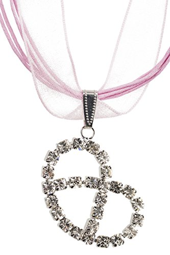 Trachtenkette elegante Brezel mit funkelndem Strass in vielen Farben - Anhänger Trachtenschmuck Kette für Dirndl und Lederhose Brezel Sterne (Rosa)