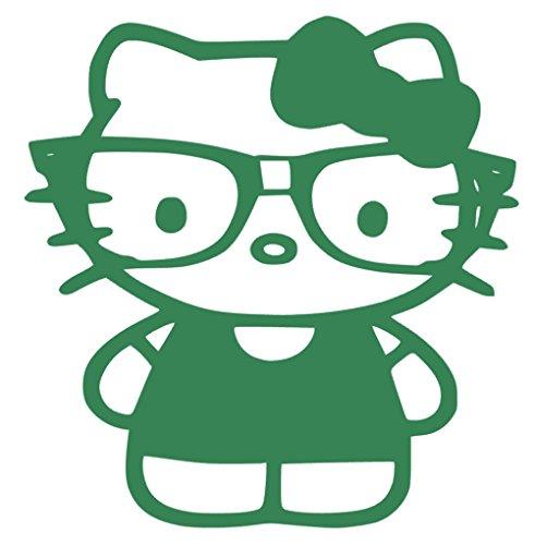 Nerdy Kitty Vinyl Sticker Decal (Green, 5.6