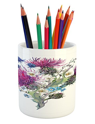 Thistle Ceramic (Dragonfly Pencil Pen Holder by Ambesonne, Summer Natural Meadow Herbs Bouquet Wild Thistles Chamomiles Watercolor Boho Art, Printed Ceramic Pencil Pen Holder for Desk Office Accessory, Multicolor)
