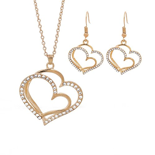 Cuekondy Women Girls Double Love Heart-shaped Rhinestone Statement Necklace Earring Set Wedding Bridal Charm Jewelry