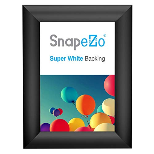 SnapeZo Poster Frame 5x7 Inches, Black 1 Inch Aluminum Profile, Front-Loading Snap Frame, Wall Mounting, Sleek Series
