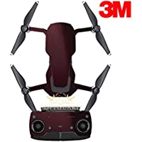 SopiGuard 3M Gloss Black Rose Precision Edge-to-Edge Coverage Vinyl Sticker Skin Controller 3 x Battery Wraps for DJI Mavic Air