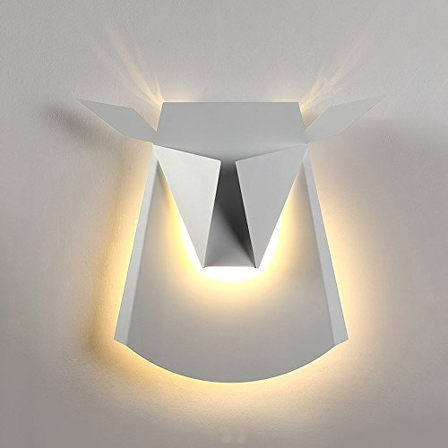 Fantasy Electric Wall Sconce - Top01 Deer head lamp creative lighting elegant aluminum iron wall lamp LED lamp fixture electric plug(White)
