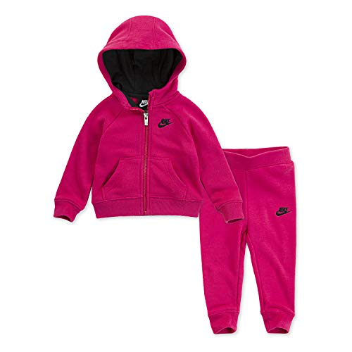 (NIKE Children's Apparel Girls' Toddler Hoodie and Joggers 2-Piece Set, Rush Pink/Black, 4T)