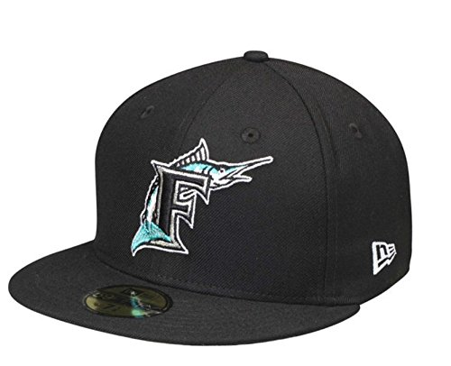 New Era 59Fifty Hat Florida Marlins Cooperstown 1993 Wool Black Fitted Headwear Cap (7 5/8) ()