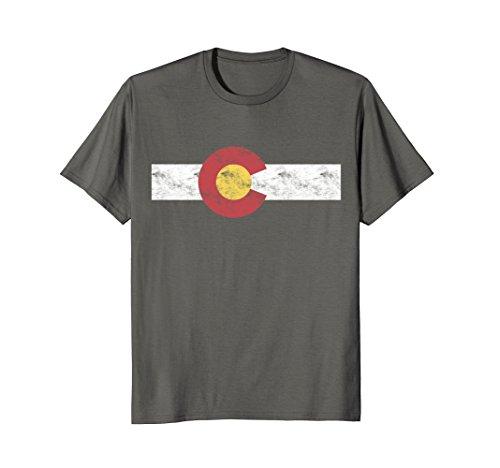 Mens Colorado State Flag T Shirt Patriotic Colorado Day Gift Large Asphalt