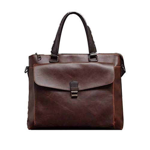 Browns Ash Lock - Casual Waterproof Teacher Bag Solid Color Business Work Bag Men Simple Unit Ash PU Leather Large College Bag With Mortise Lock (Brown) (Color : Braun, Size : -)