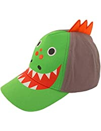 ABG Accessories Toddler Boys Cotton Baseball Cap with Assorted Animal Critter Designs, Age 2-4 (Dinosaur Design – Green/Grey)