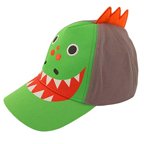 - ABG Accessories Toddler Boys Cotton Baseball Cap with Assorted Animal Critter Designs, Age 2-4 (Dinosaur Design - Green/Grey)
