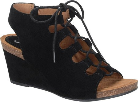 Suede Platform Casual Sandals Open Sofft Black Toe Womens Maize fpwqpU1g