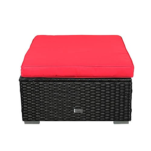 eclife Patio Foot Stool Outdoor Rattan Sofa PE Wicker Black Sofa Couch Furniture Removable Cushions Ottoman (1PC Red) (Ottoman Red Large)