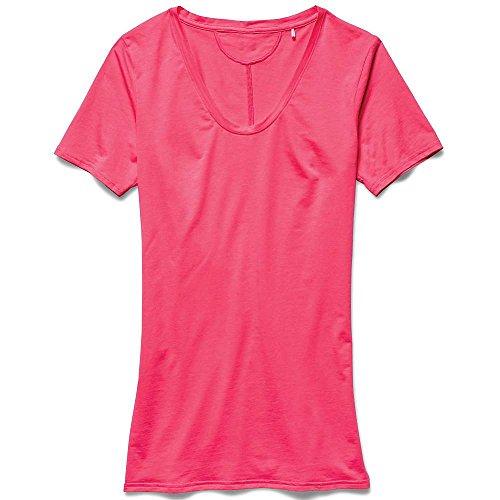 Under Armour, UA Long and Lean, Damen-T-Shirt mit V-Ausschnitt, neon-pink