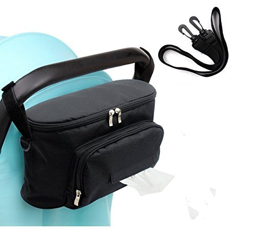 Large Space Stroller Organizer Diaper Bag with a free strap (black) by Spritool