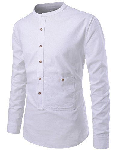 - NEARKIN NKNKS831 Mens Slim Cut Look Henley Neck Chinese Collar Cotton Shirts White US XXL(Tag Size 2XL)